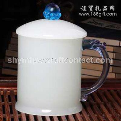 琉璃白玉大龙杯