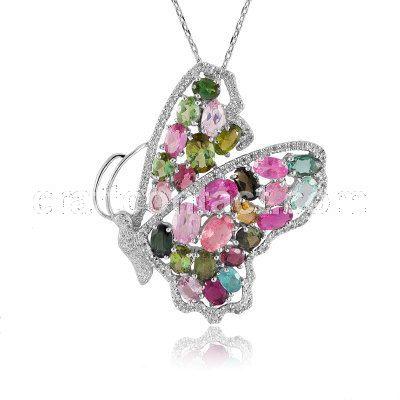 牧乐珠宝天然彩色半宝石正品巴西碧玺蝴蝶吊坠胸针灵活两用款纯银