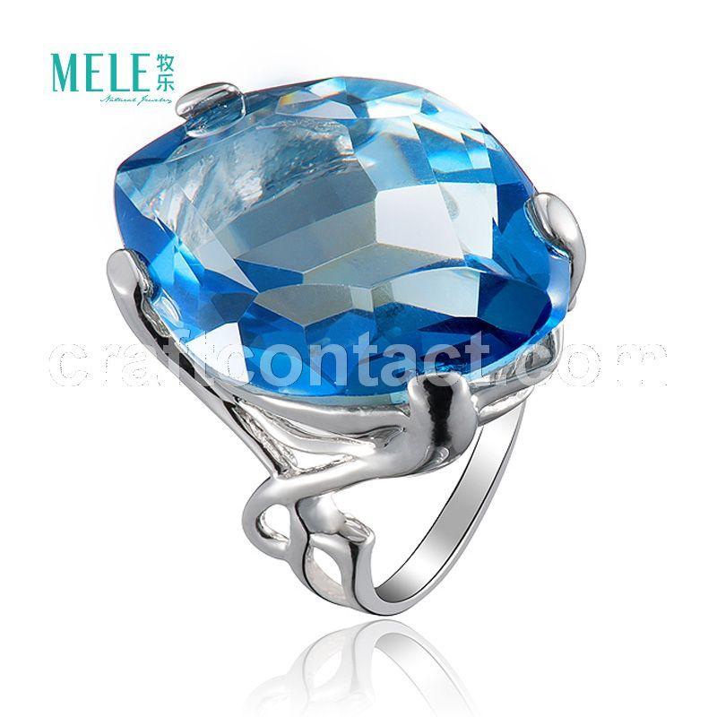 牧乐珠宝天然半宝石镀色大颗粒水晶戒指纯银饰品简约时尚夸张女戒