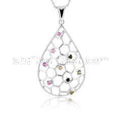 牧乐珠宝巴西天然彩色碧玺女吊坠时尚简约925纯银饰品精美项