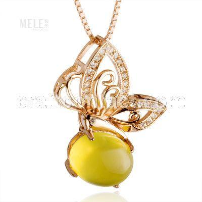 牧乐珠宝天然澳大利亚葡萄石女款吊坠玫瑰金镶蝴蝶款时尚配饰